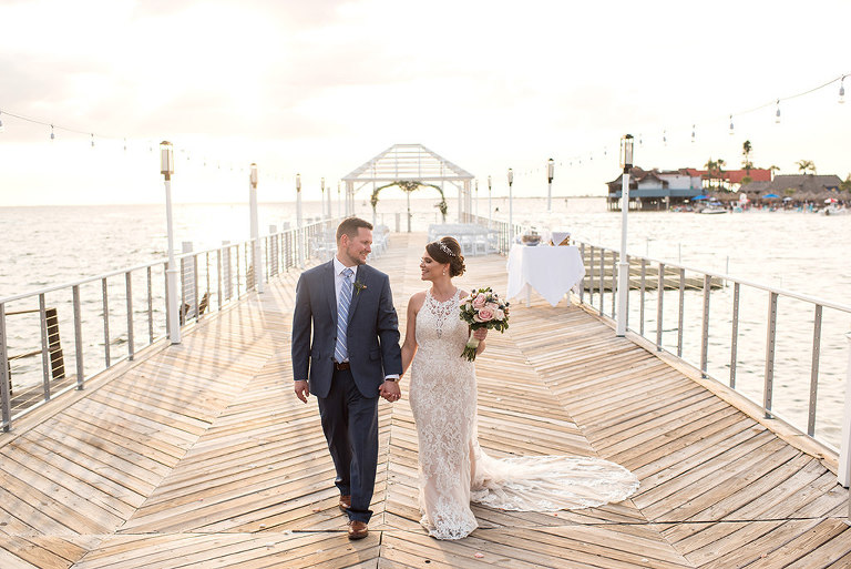 Florida Bride and Groom Wedding Portrait at Sunset Waterfront Dockside Wedding Ceremony | Tampa Bay Hotel and Wedding Venue The Godfrey Hotel & Cabanas