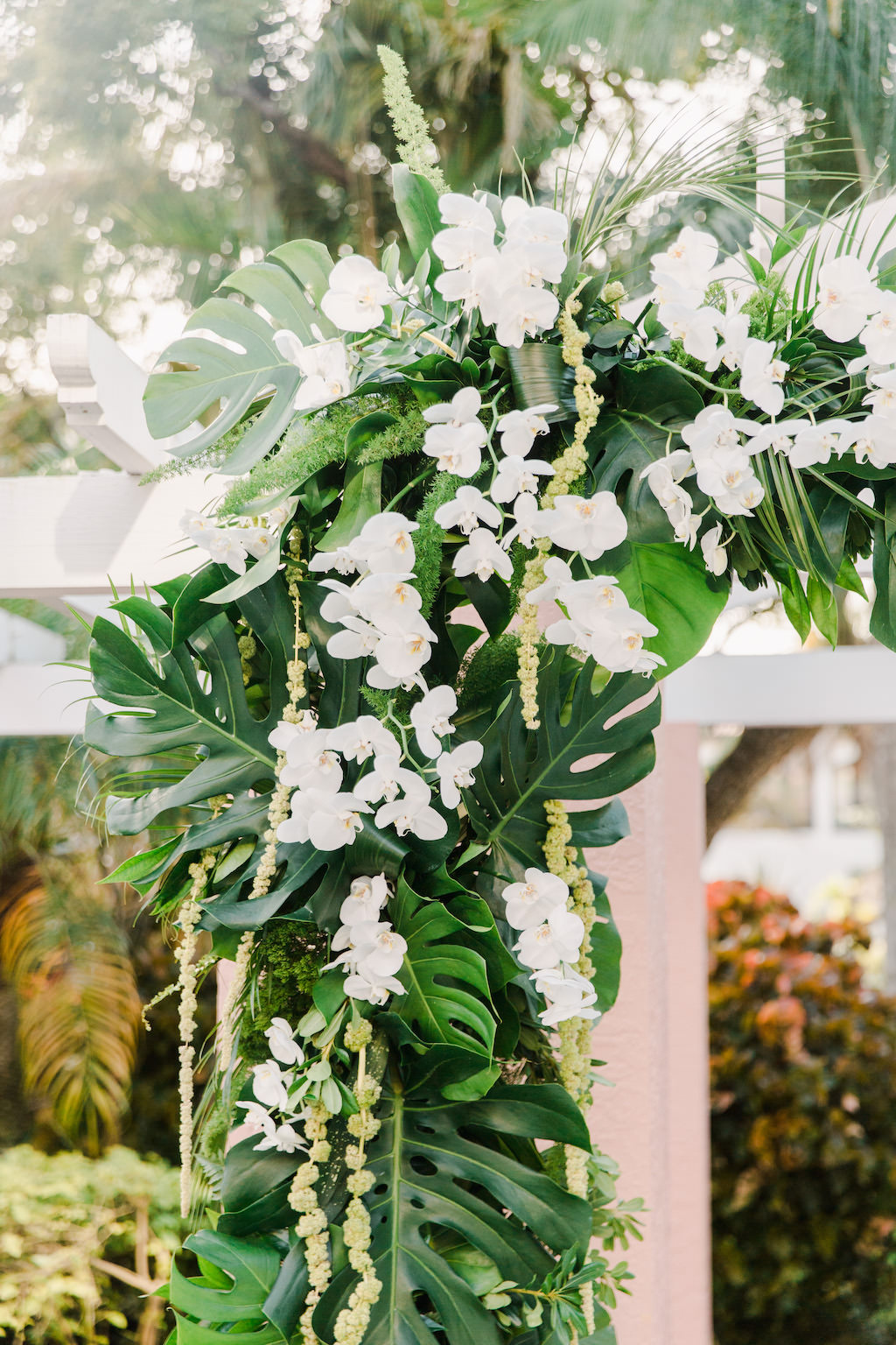 St. Pete Garden Wedding Ceremony, White and Green Florida Inspired Tropical Decor, Floral Orchids, Monstera Leaves and Hanging Green Amaranthus | Tampa Bay Florist Bruce Wayne Florals | Luxury Wedding Planner Parties A'La Carte