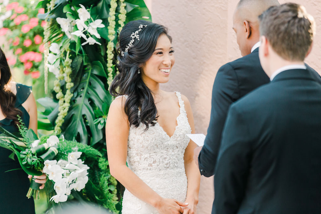 Modern, Boho Inspired Florida Bride, Smiling During Wedding Vows | St. Pete Hair and Makeup Artist Michele Renee The Studio