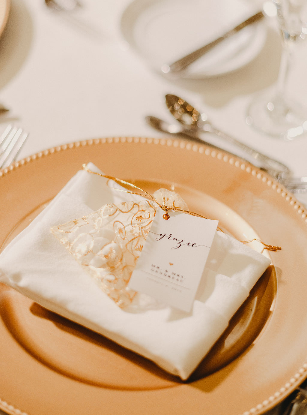 Classic Traditional Wedding Reception Decor, Gold Charger with White Linen and Wedding Favor