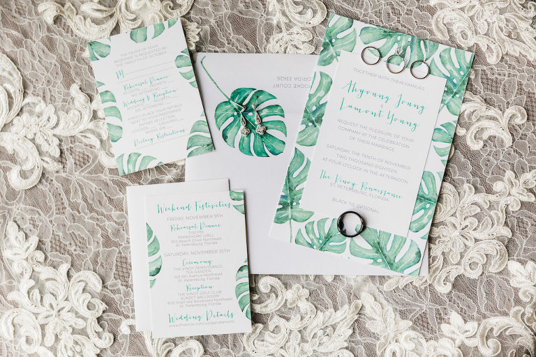 Modern, Tropical Inspired, Florida Wedding Invitation Suite, Monstera Leaf Design, Green and White | Tampa Bay Wedding Invitation and Stationery by URBANCoast