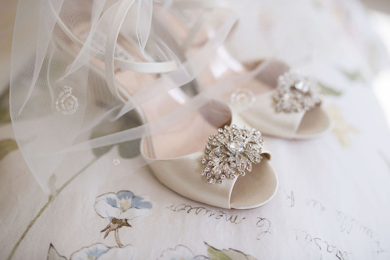 Peep Tow Satin Ivory Wedge Heel Wedding Shoes with Rhinestone Brooch | Tampa Bay Kristen Marie Photography