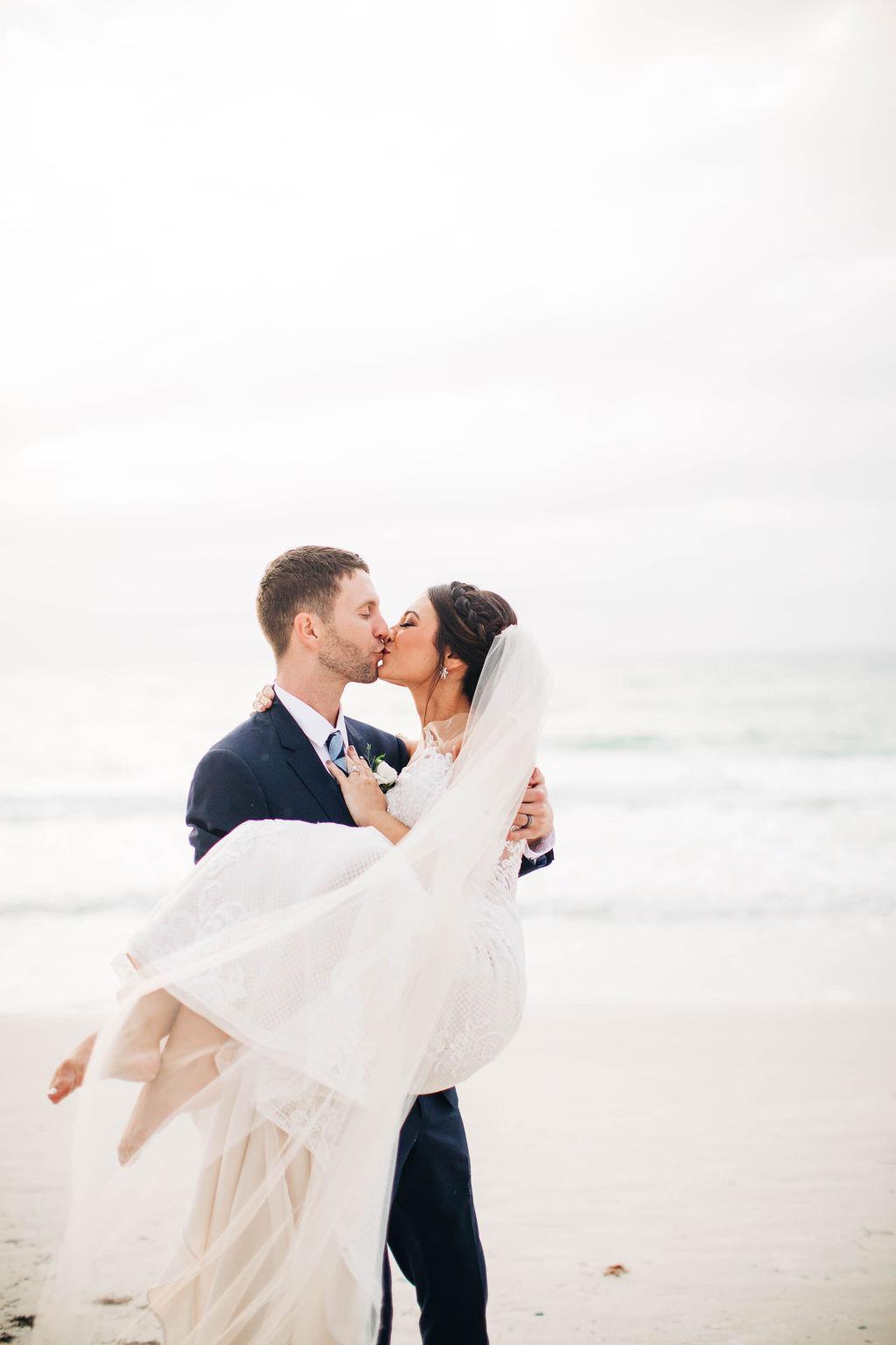 Clearwater Beach Bride and Groom Beachfront Wedding Portrait