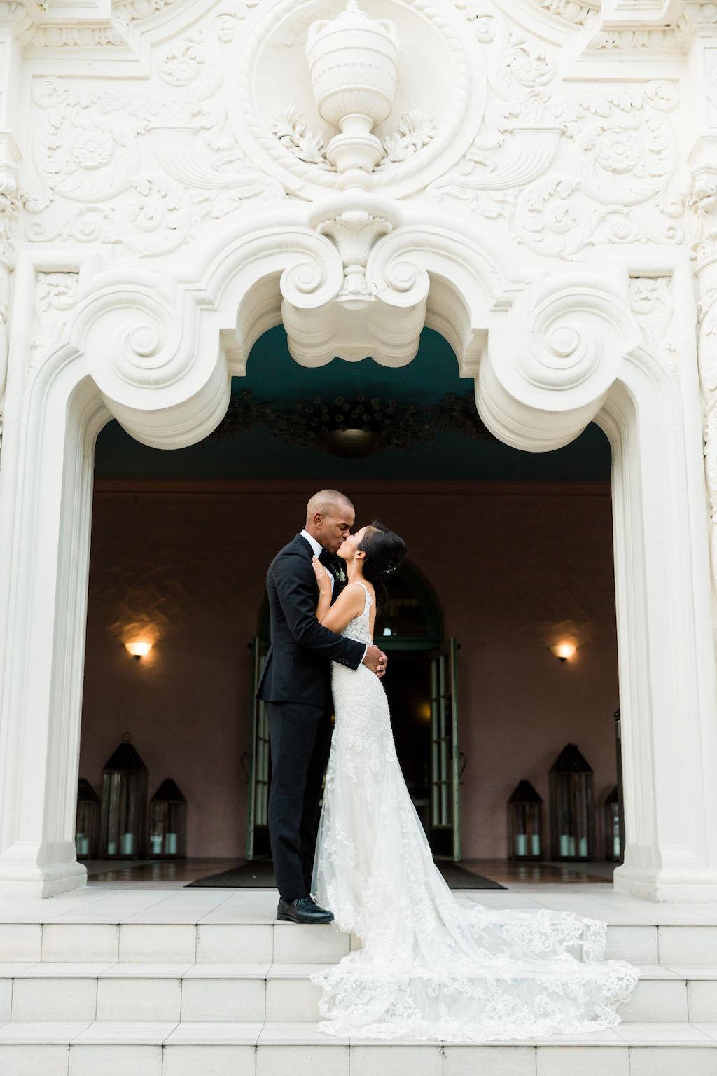 Modern Bride and Groom Romantic Kissing Wedding Portrait | Downtown St. Pete Resort at The Vinoy Renaissance Resort & Golf Club