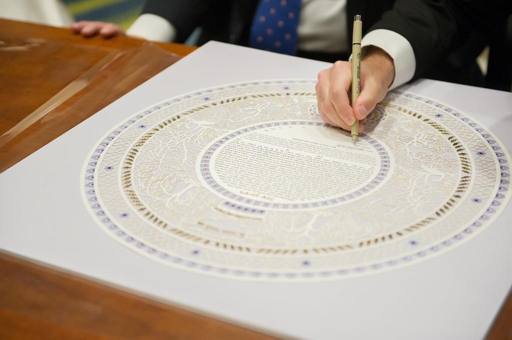 Jewish Wedding Ceremony Ketubah Signing