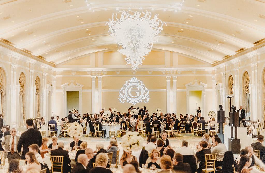 Timeless, Elegant Classic Traditional Ballroom Wedding Reception Portrait, Modern Chandelier, Custom Gobo Monogram Projection   Downtown St. Pete Hotel Ballroom Wedding Venue The Vinoy Renaissance