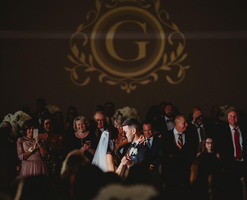 St. Pete Bride and Groom First Dance Wedding Reception Portrait, Custom Monogram Gobo Projection