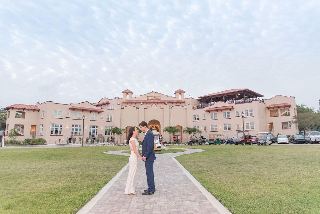 Florida Bride and Groom Wedding Portrait Outside Dunedin Wedding Venue Fenway Hotel | Tampa Bay Wedding Photographer Kristen Marie Photography