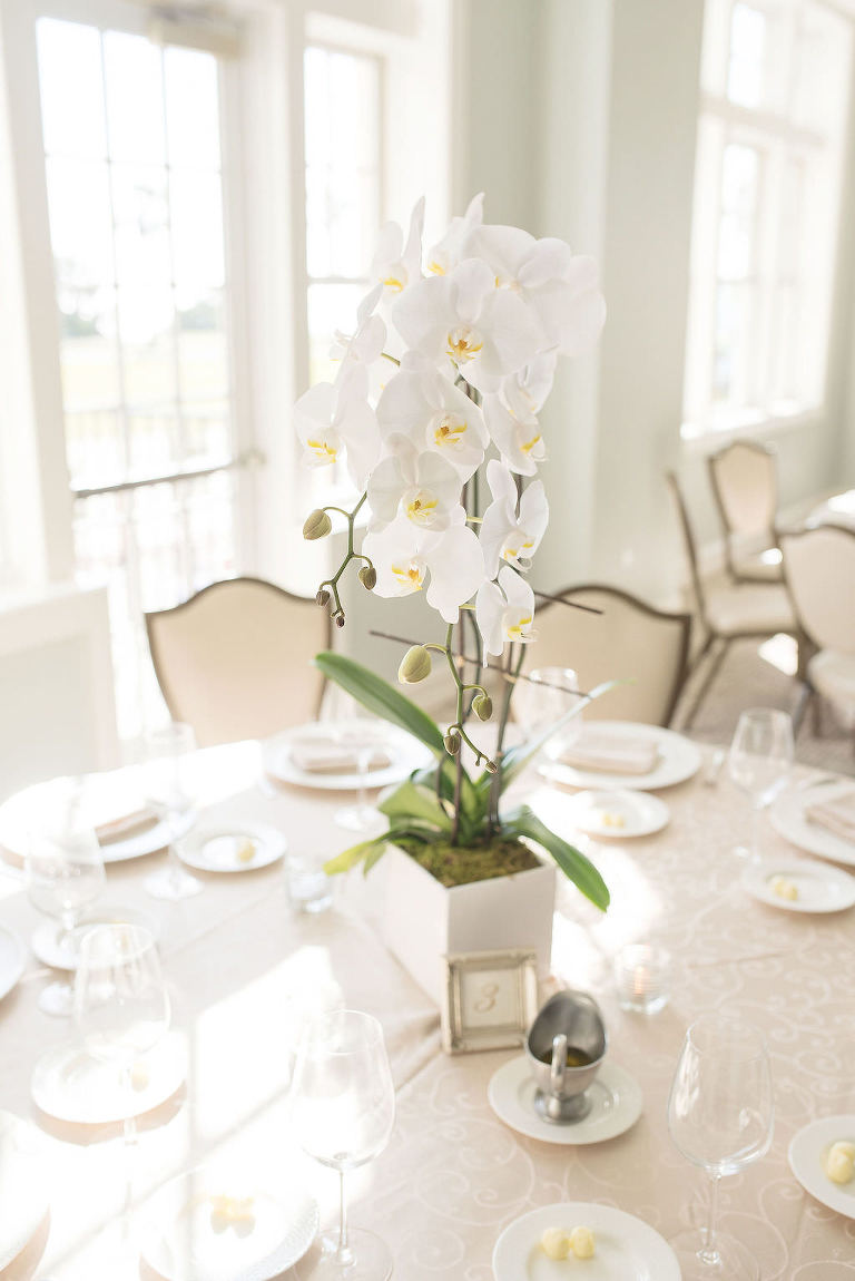 Simple, Classic Wedding Reception Decor, Tall White Orchid Floral Centerpiece | Tampa Bay Wedding Photographer Kristen Marie Photography | Tampa Bay Wedding Planner Special Moments Event Planner