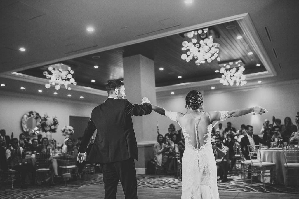 Bride and Groom Ballroom Reception First Dance Wedding Portrait   Waterfront Hotel Wedding Venue Hyatt Regency Clearwater Beach