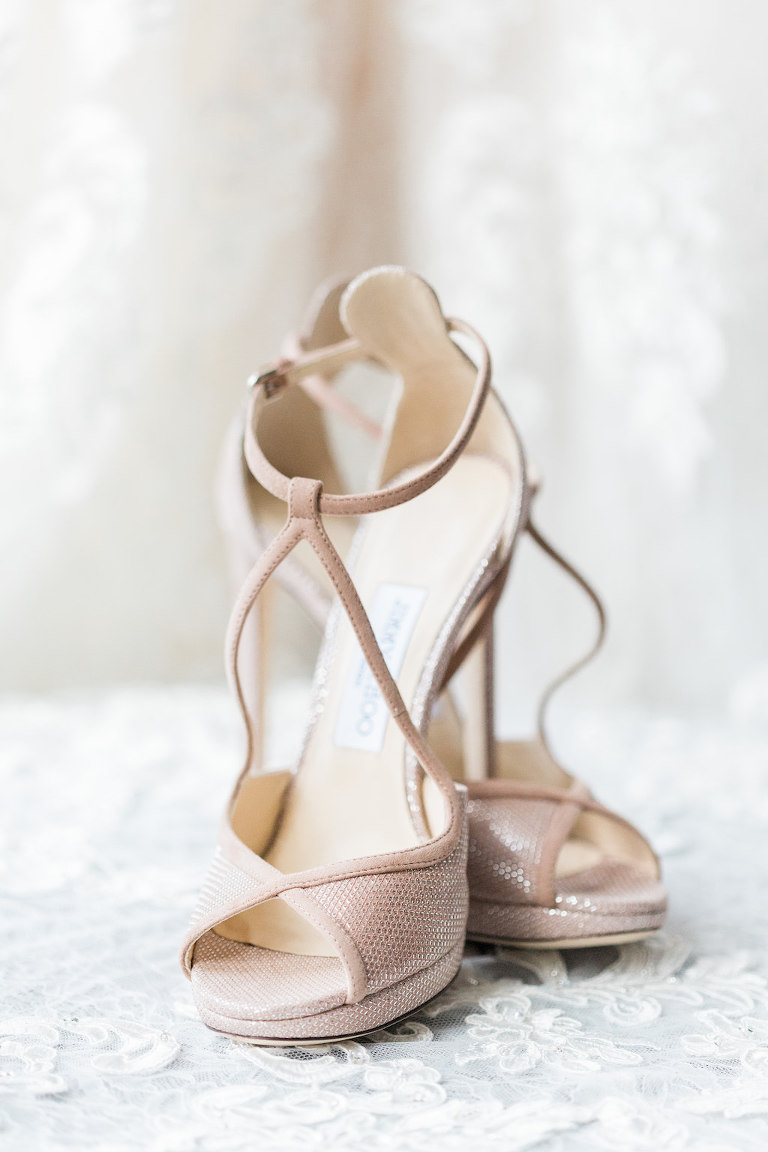 Modern Bridal Wedding Shoes | Jimmy Choo Light Pink Nude Strappy Sandals