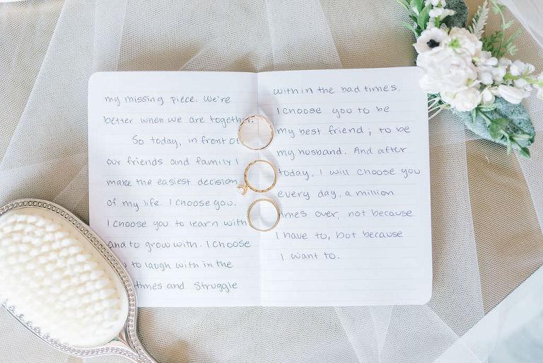 Modern, Elegant Handwritten Ceremony Vows, Wedding Rings | Tampa Bay Wedding Photographer Kera Photography