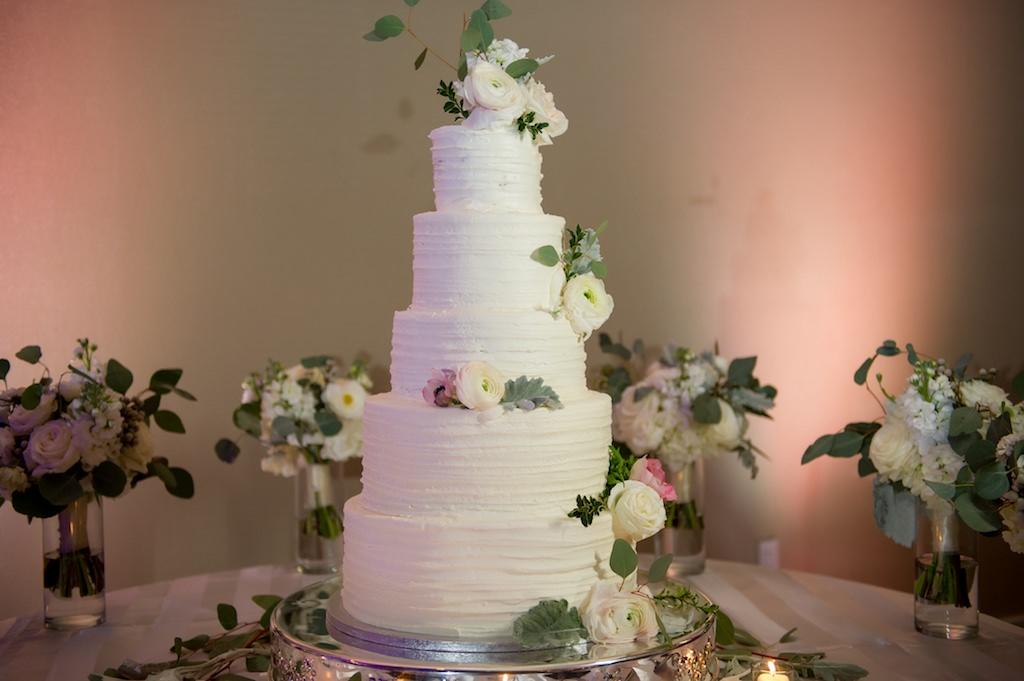 5-Tier Buttercream Wedding Cake with Fresh White Flowers