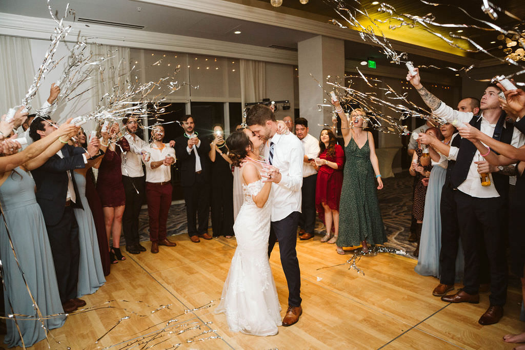 Bride and Groom Wedding Reception Exit Confetti Portrait