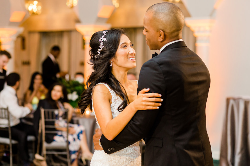 Modern, Florida Bride and Groom First Dance Wedding Reception Portrait | The Vinoy Renascence Resort in Downtown St. Pete | Tampa Bay Hair and Makeup Artist Michele Renee The Studio