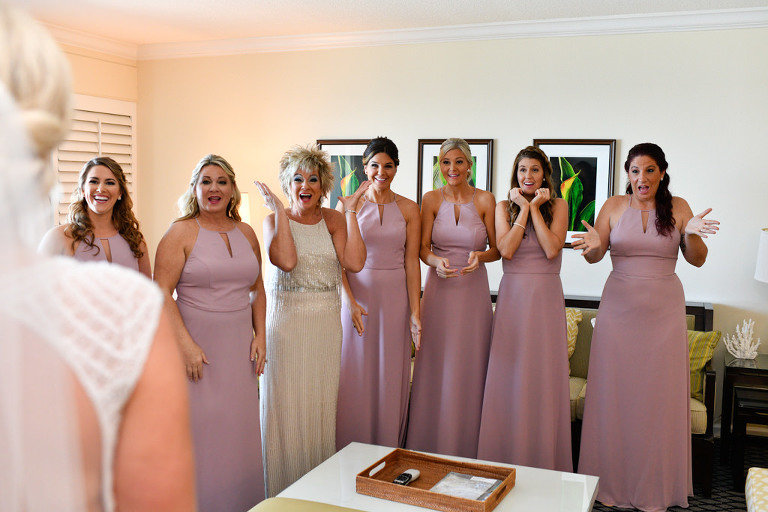 Mother of the Bride and Bridesmaids in Matching Dusty Rose Long Dresses Wedding Portrati