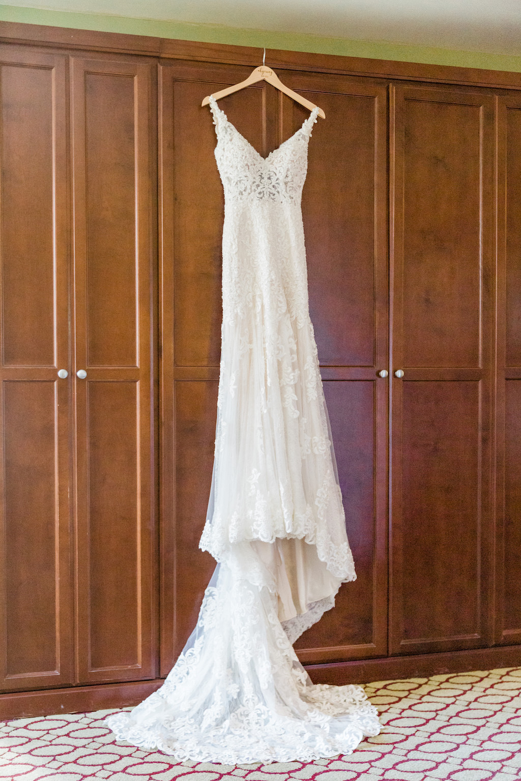Boho Inspired Fitted Martina Liana Wedding Dress, White Lace Detailing with Straps and V Neckline