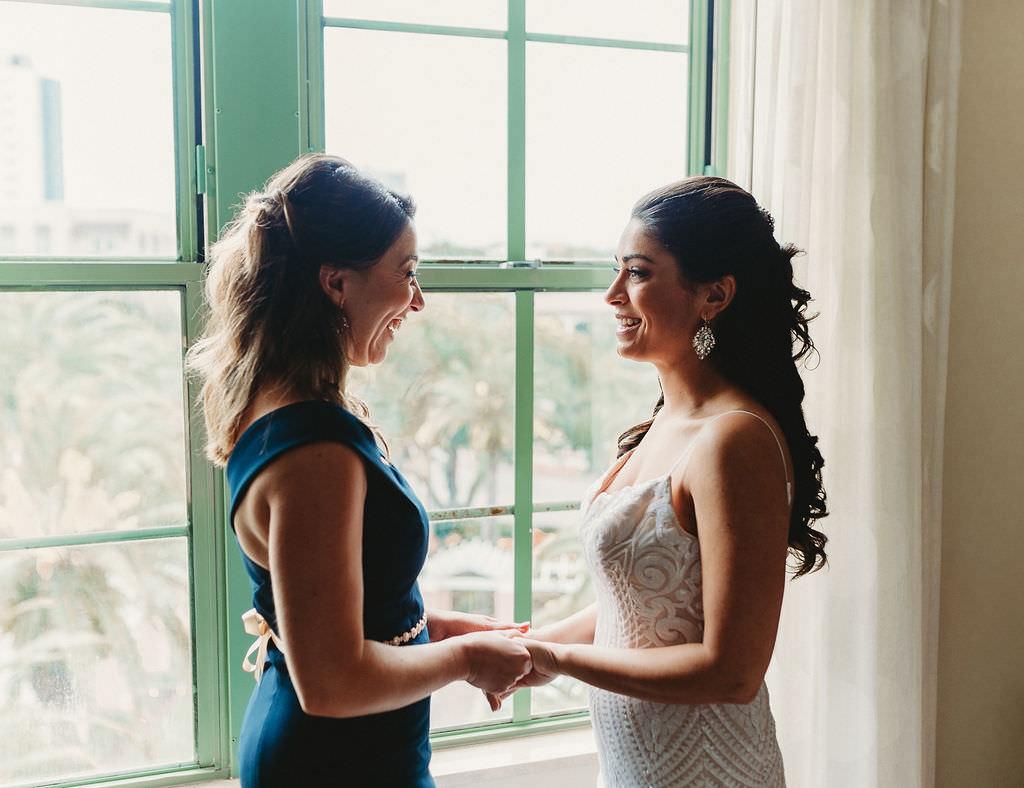 Florida Bride and Bridesmaids Wedding Portrait Holding Hands