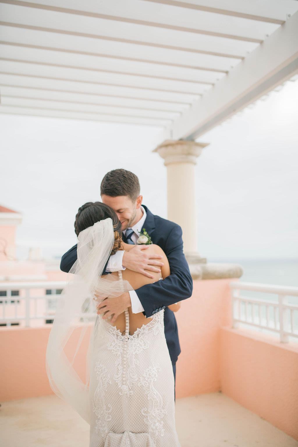 Tampa Bay Bride and Groom First Look Wedding Portrait on Rooftop Terrace at Waterfront Clearwater Beach Hotel Wedding Venue Hyatt Regency Clearwater Beach