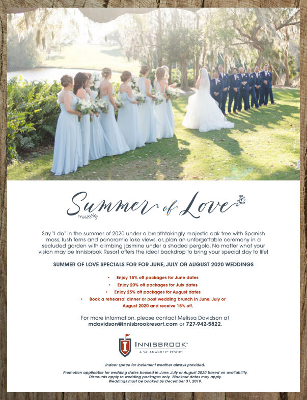 Innisbrook Resort, Palm Harbor Weddings, Summer 2020 Booking Specials