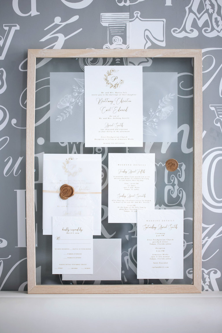 Modern Elegant White and Silver Wedding Invitation Suite | Tampa Bay Wedding Photographer Carrie Wildes Photography