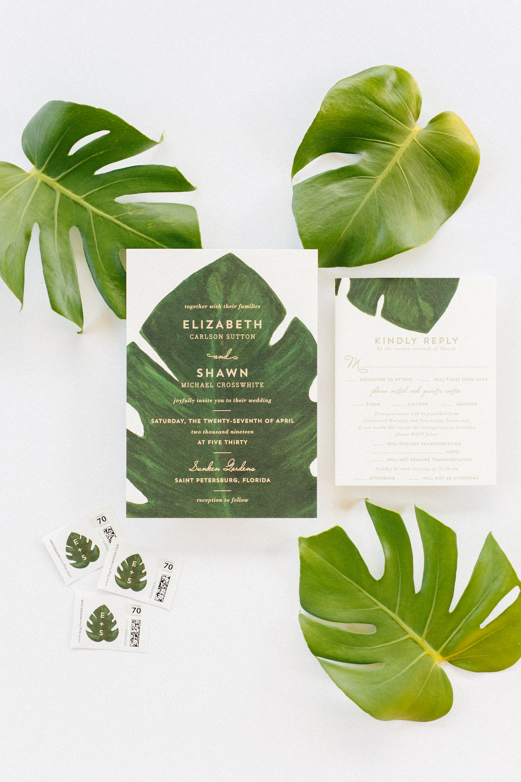 Tropical, Florida Inspired Green and White Monstera Leaf Wedding Invitation Suite with Gold Foil