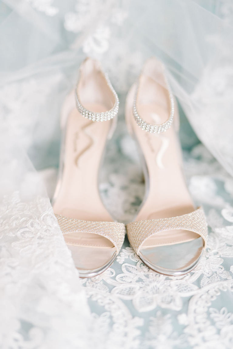 Ivory and Rhinestone Peep Toe Bridal Wedding Heels