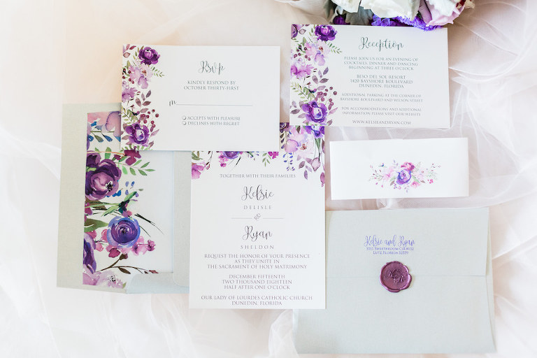 Minimalist, Garden Inspired Purple and Pink Watercolor Floral Florida Wedding Invitation Suite with Monogram Wax Emblem