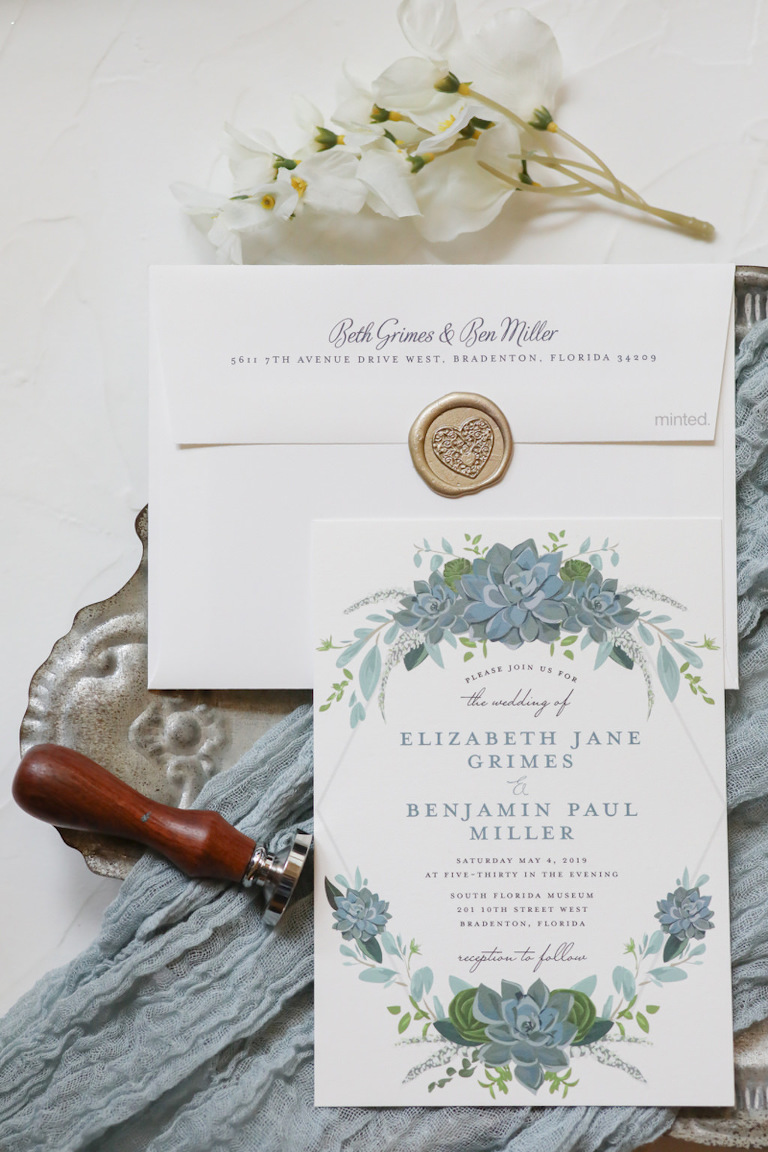 Rustic Romantic Dusty Blue Floral Painted Wedding Invitation with Wax Seal | Wedding Photographer Lifelong Photography Studios