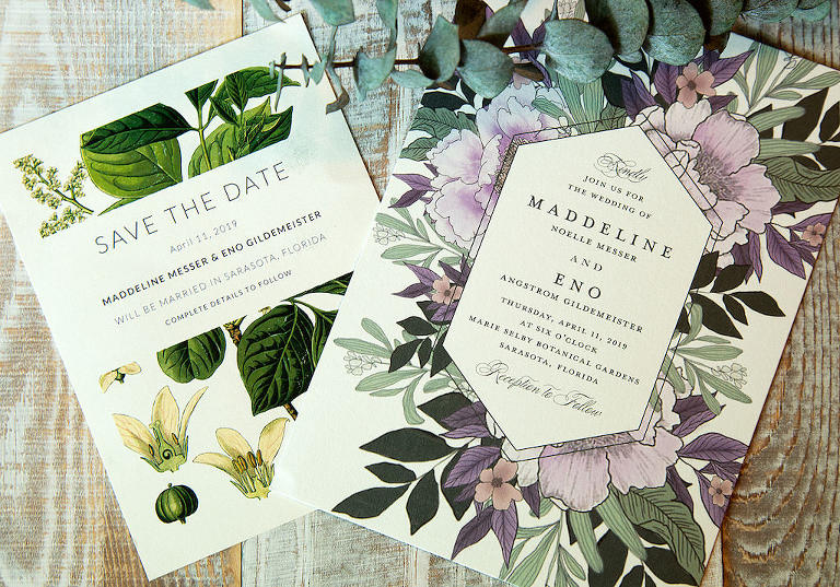 Purple Lilac Painted Floral Elegant Garden Inspired Wedding Invitation and Green Painted Leaf Save the Date