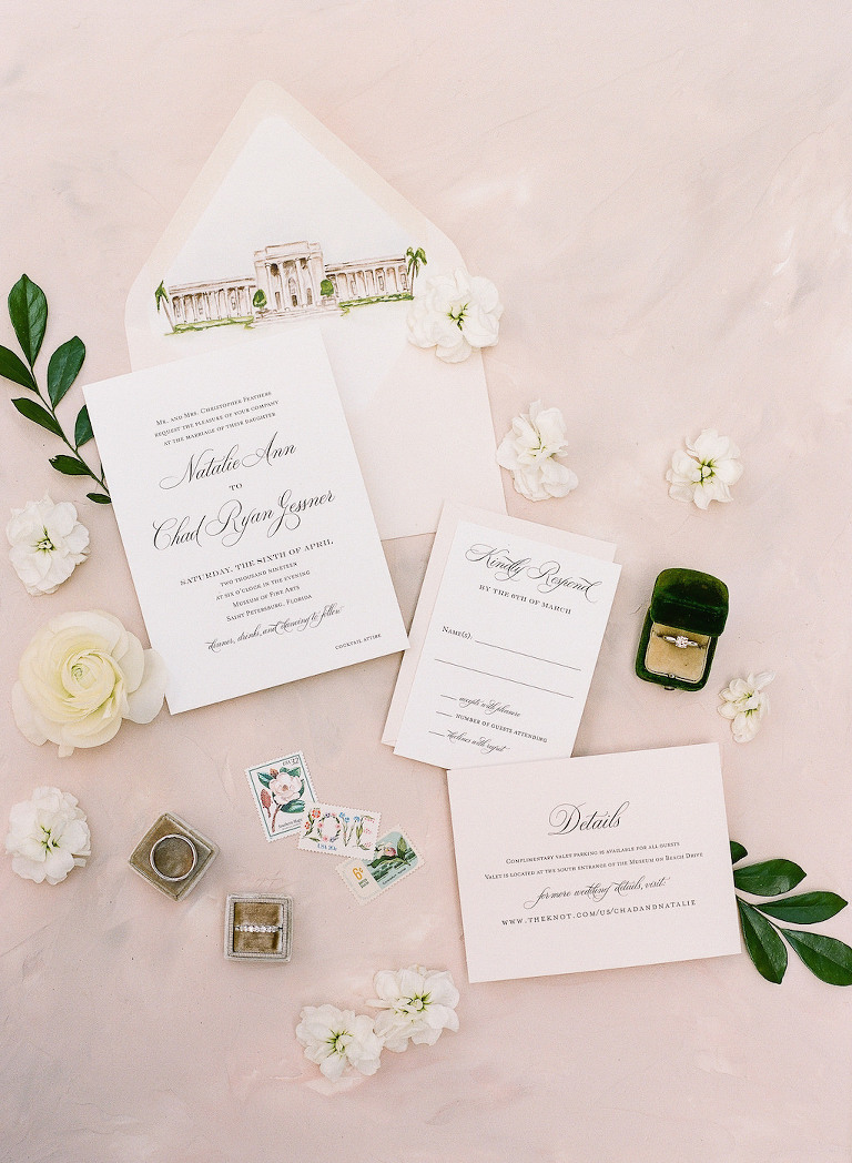 Classic Elegant White with Black Script and Blush Pink Wedding Invitation Suite, Custom Watercolor Image on Envelope, Wedding Accessories, Wedding Rings   Tampa Bay Wedding Stationery A&P Design Co.