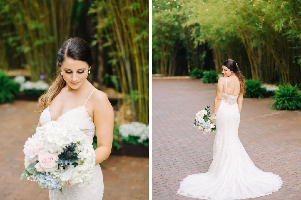 Elegant, Romantic Tampa Bay Bride in White Maggie Sottero Lace Wedding Dress with Cutaway Low Back, Soft Floral Bridal Bouquet with Blush Pink Roses, White Hydrangeas, Blue Thistle, Greenery Flowers, in Florida Bamboo Courtyard | Downtown St. Pete Unique Wedding Venue NOVA 535