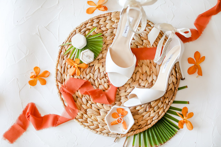 Vibrant, Tropical Wedding Details, White Bridal Shoes, Coral Accent Color | Tampa Bay Wedding Photographer Lifelong Photography Studios