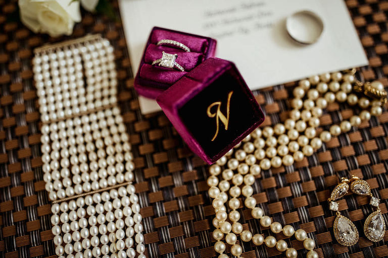 Bride's Wedding Accessories, Velvet Maroon and Gold Monogram Ring Box with Princess Cut Engagement Ring and Diamond Wedding Band and Pearl Jewelry