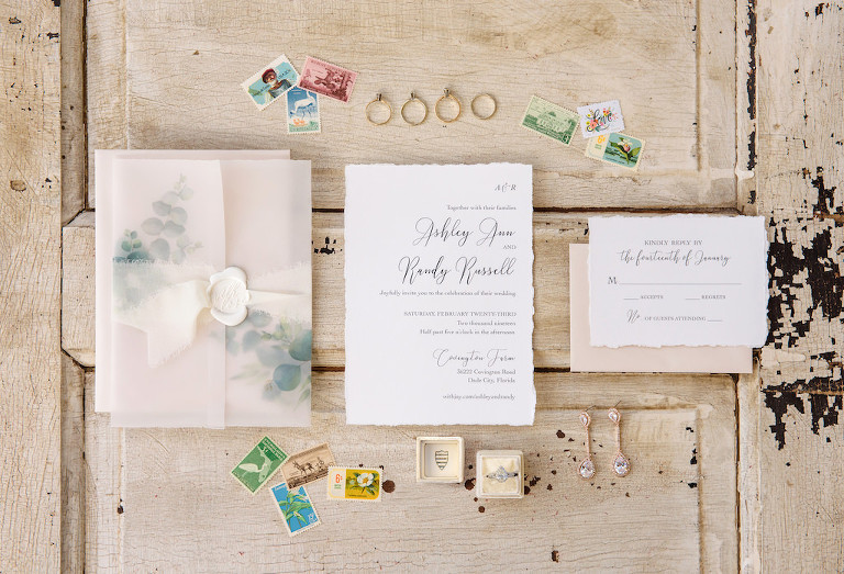Elegant Classic White, Blush and Watercolor Greenery Wedding Invitation Suite, Velvet Ring Box with Engagement Ring and Diamond Hanging Bridal Earrings and Jewelry