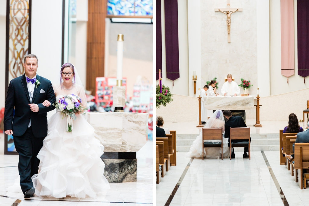 Modern, Romantic Florida Unique Bride and Father Walk Down the Aisle in Processional, Wearing White Ballgown Wedding Dress, Holding Purple and Ivory Floral Bouquet, Traditional Catholic Wedding Ceremony