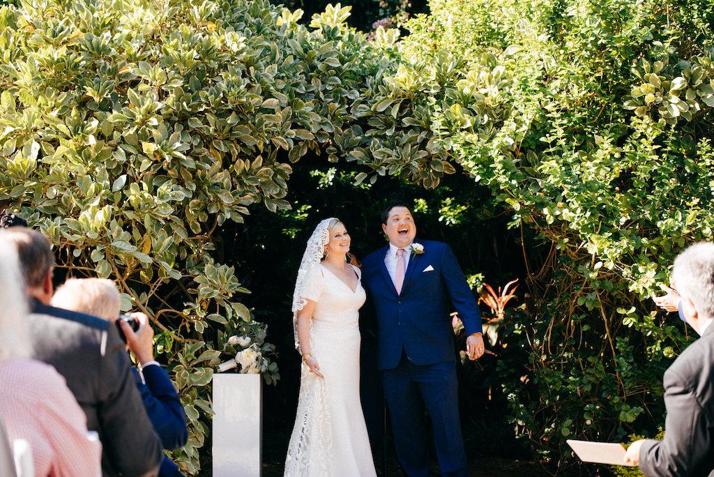 Fun, Happy Bride and Groom Garden Wedding Ceremony Portrait | Outdoor Tropical Inspired St. Pete Wedding Venue | Sunken Gardens