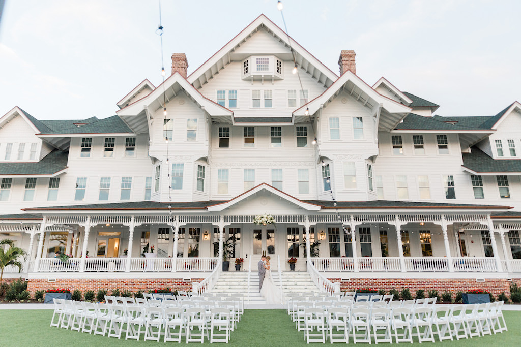 Romantic, Modern Outdoor Wedding Ceremony on Front Lawn of Grand House, at Historic Bellview Inn   Tampa Bay Wedding Planner Special Moments Event Planning