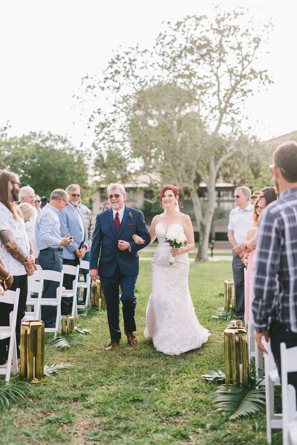 Tampa Bay Bride and Father Walking Down Outdoor Wedding Ceremony Aisle Processional   Wedding Photographer Kera Photography