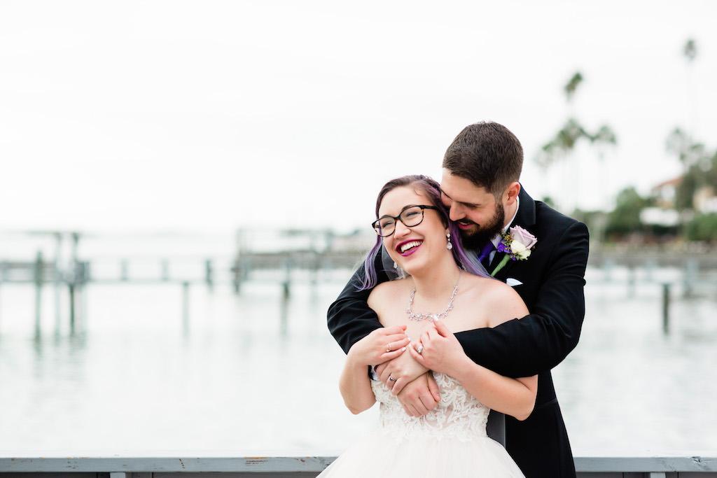Modern Unique Tampa Bay Bride and Groom Romantic Intimate Wedding Portrait | Florida Waterfront Wedding Venue Beso Del Sol