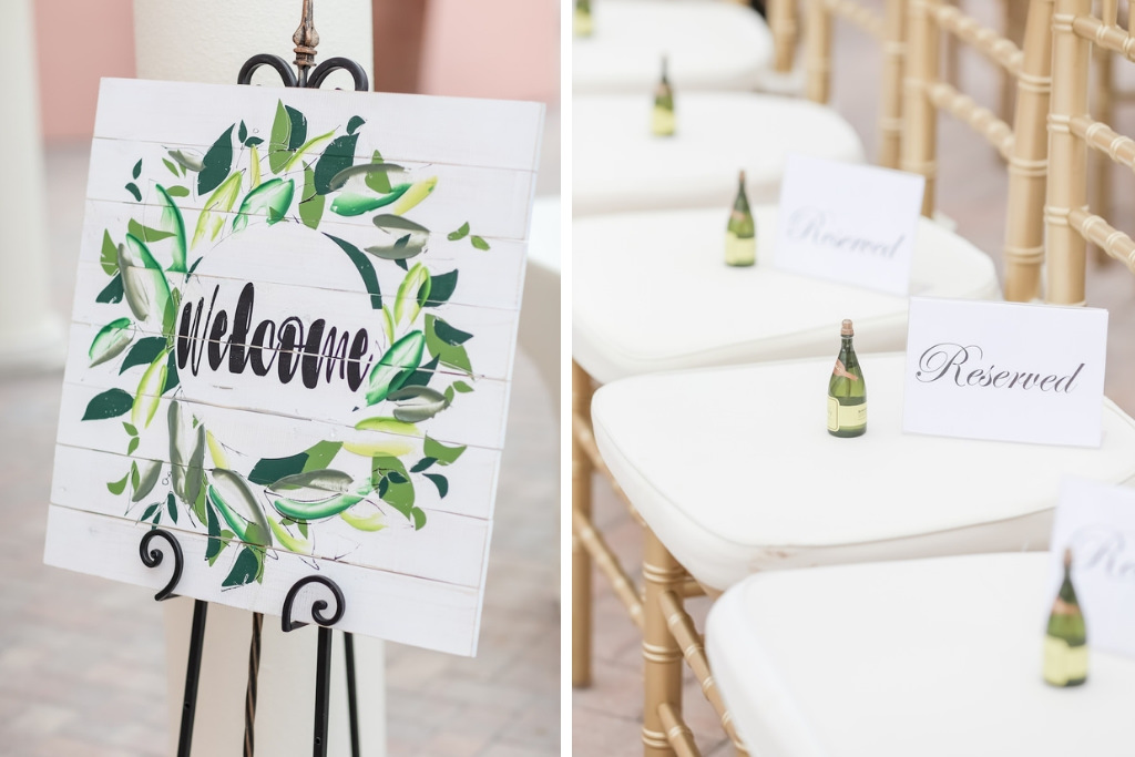 Tropical Elegant Wedding Ceremony Decor, White Wooden Green Leaf Wreath Welcome Sign, Gold Chiavari Chairs with Mini Bottles of Champagne Bubbles   Tampa Bay Wedding Photographer Lifelong Photography Studios