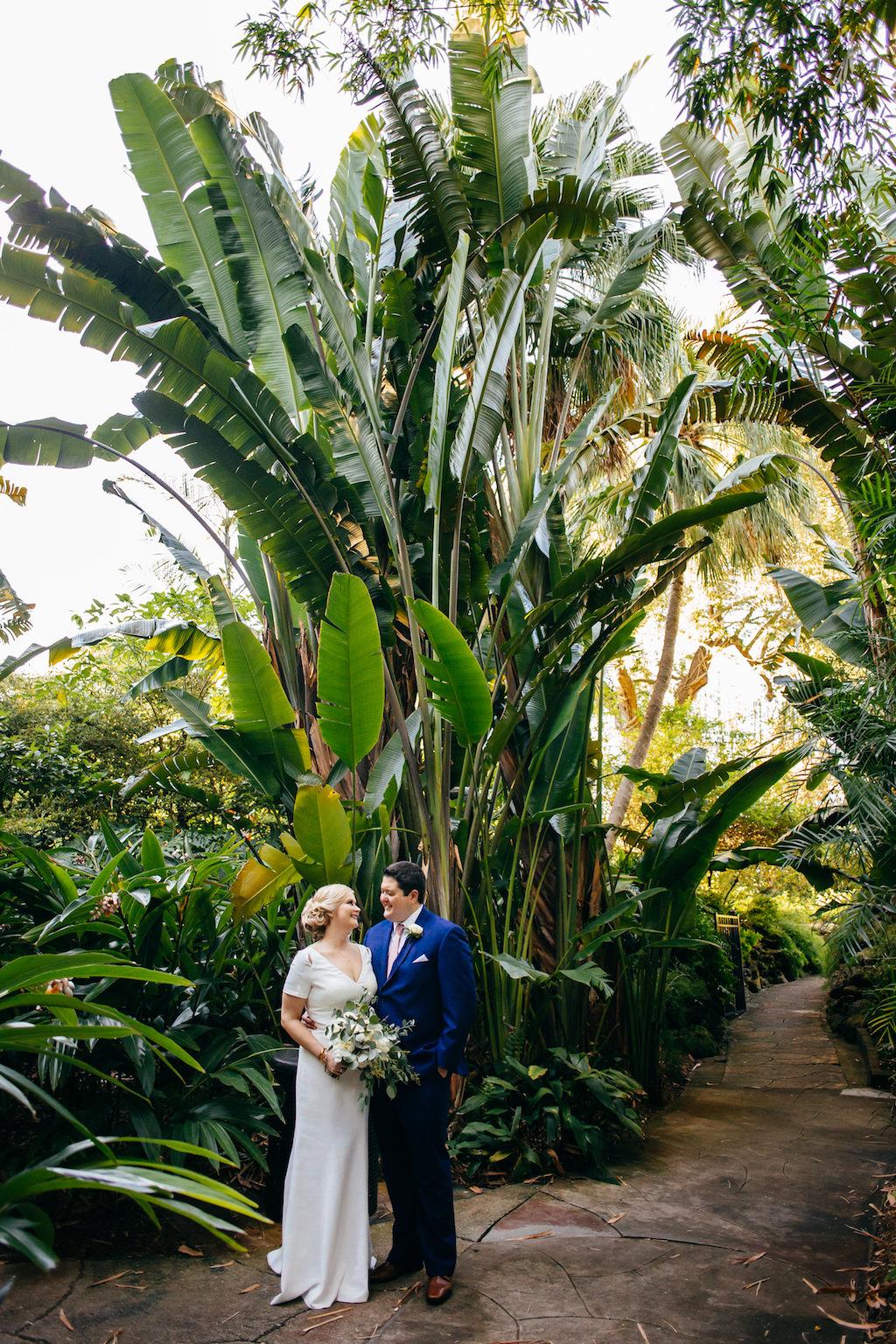 Florida Bride and Groom Garden Wedding Portrait | Outdoor Tropical Inspired St. Pete Wedding Venue | Sunken Gardens