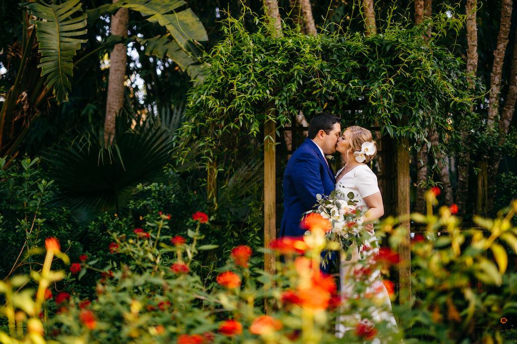 Intimate, Romantic Bride and Groom Garden Wedding Portrait | Outdoor Tropical Inspired St. Pete Wedding Venue | Sunken Gardens | Wedding Hair and Makeup Femme Akoi