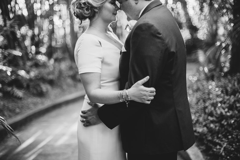 Black and White Bride and Groom Intimate Wedding Portrait