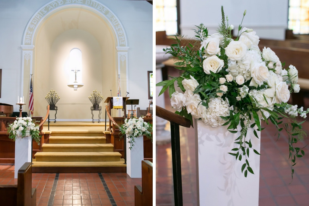 Traditional Wedding Ceremony Venue and Decor, White Pedestals with White  and Ivory Rose and Flowers and Greenery | Tampa Bay Wedding Photographer  Carrie Wildes Photography | First Presbyterian Church Downtown Tampa -