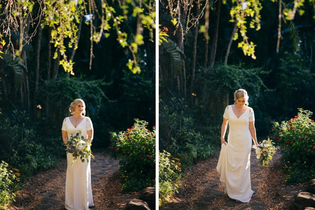 Golden Hour Outdoor Bridal Wedding Portrait with Floral Eucalyptus Bouquet in Wedding Dress