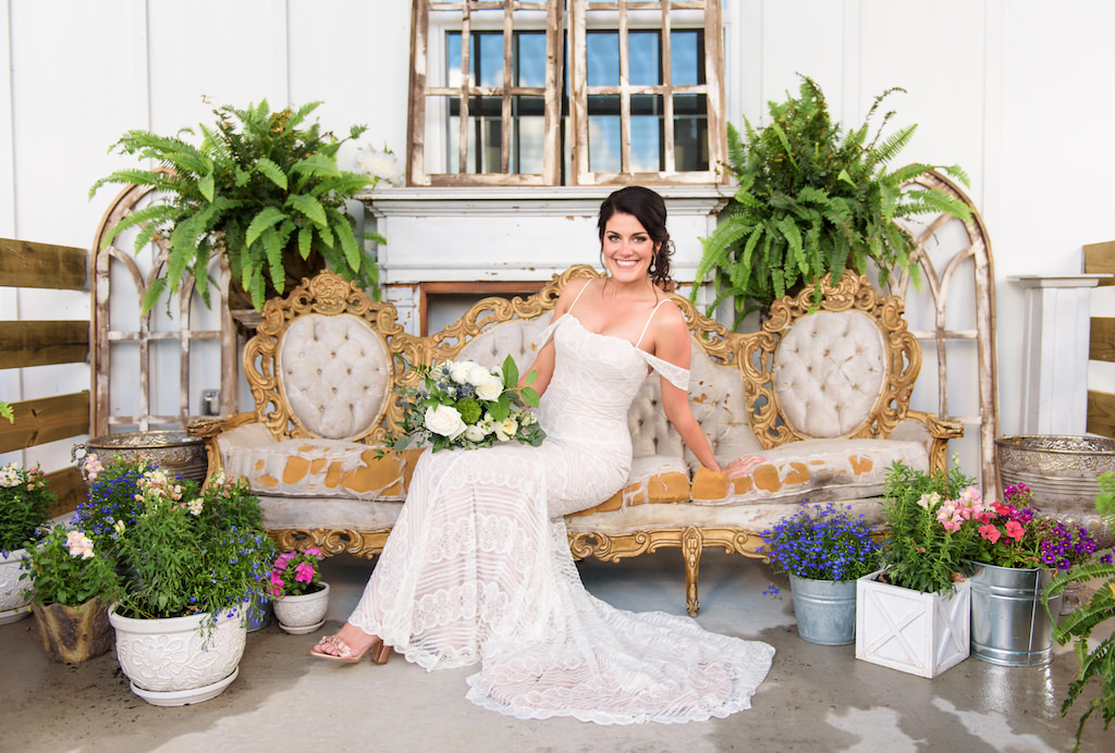 Classic Florida Bride Beauty Wedding Portrait On Vintage Gold And