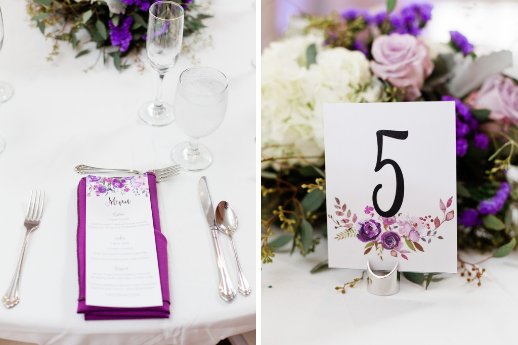 Minimalist, Garden-Inspired Florida Wedding Reception Decor, Purple and Pink Watercolor Floral Stationary Menu and Table Number, Purple Linen