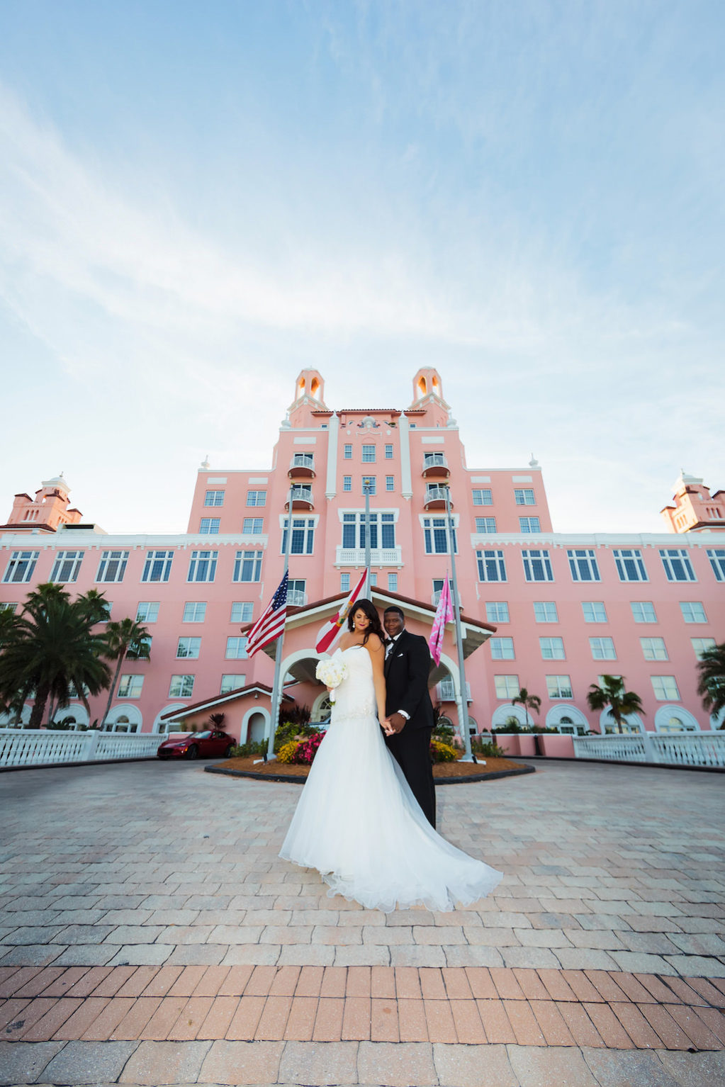 Tampa Bay Bride and Groom Portrait | The Pink Palace, Historic Beachfront Florida Wedding Venue The Don CeSar in St. Pete Beach