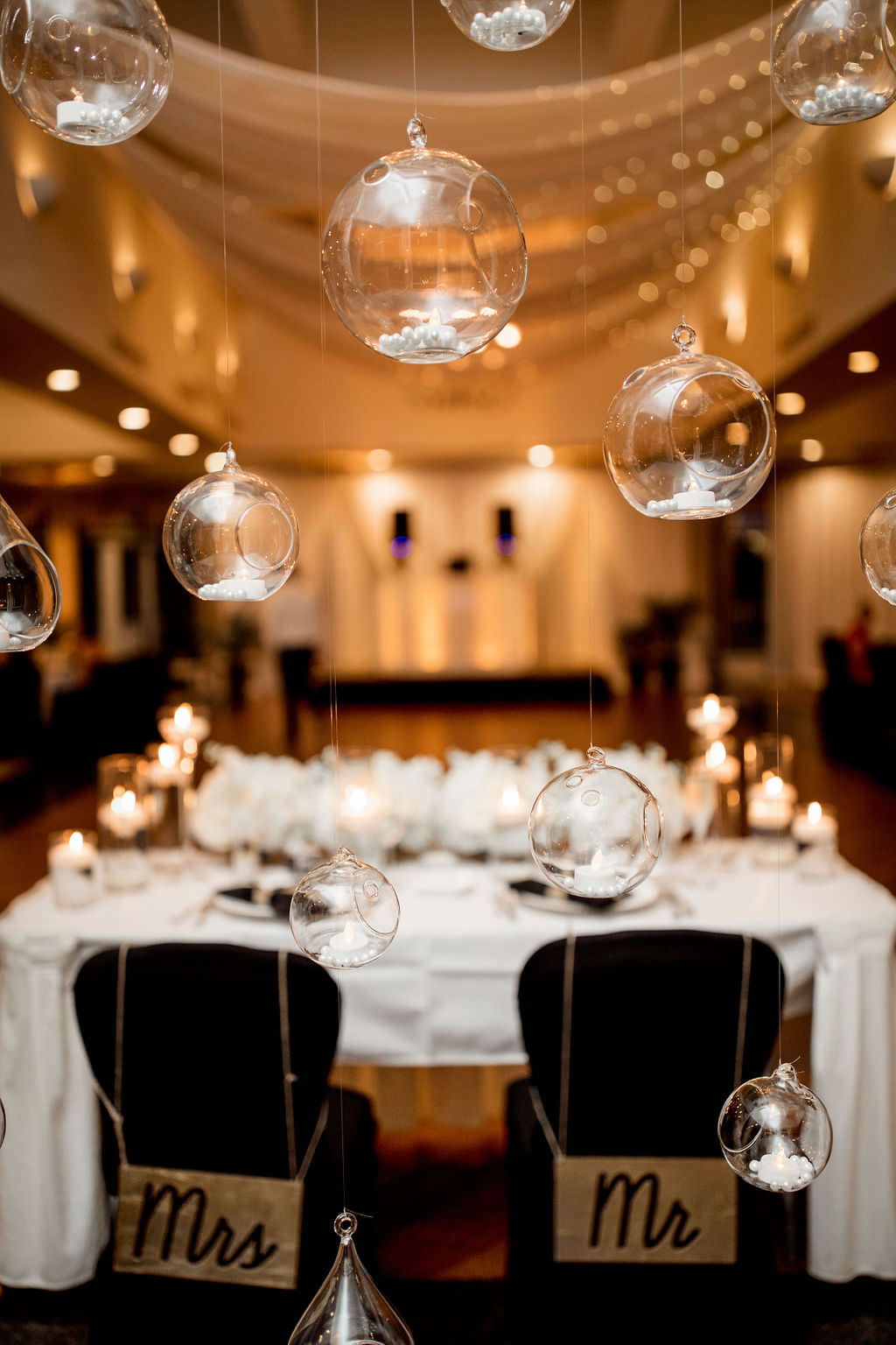 Classic, Formal Ballroom Wedding Reception Decor, Hanging Sphere Globes with Candles, Personalized Mr and Mrs Chair Signs and Sweetheart Table